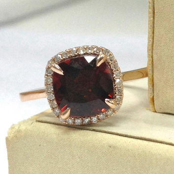Garnet Engagement Ring 14K Rose Gold!Diamond Wedding Bridal Ring,8x8mm Cushion Cut VS Natural Red Garnet,Claw Prongs,Can Make Matching Band