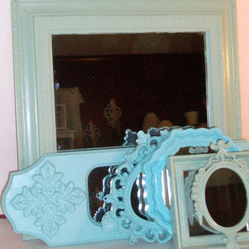6 Shades of the Beach Distressed Wall Mirrors Robins Egg Blue and Sea Foam Green