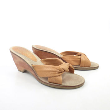 Rapallo Wedge Sandals Vintage 1970s Tan Brown Leather High Heel Women's size 9
