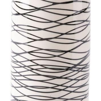 Stripes Tall Vase Black & Ivory