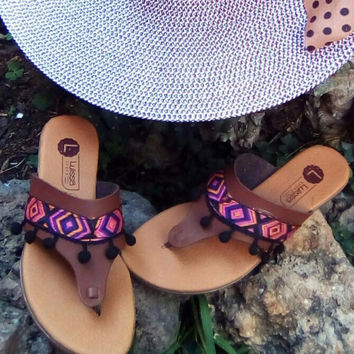 Boho Ethnic Tribal Sandals Brown with Black Pompoms