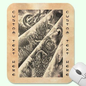 Cool classic vintage japanese demon ink tattoo mousepad from Zazzle.com