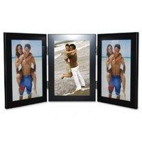 Lawrence Frames Black 4 by 6 Hinged Triple Metal Picture Frame