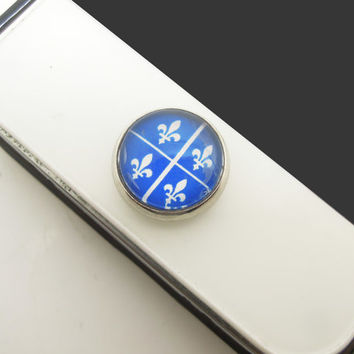 1PC Retro Glass Epoxy Transparent Times Gems Quebec Flag Fleur De Lis Alloy Cell Phone Home Button Sticker Charm for iPhone 6, 4s,4g,5,5c