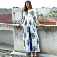 Shop Paisley block printed cape by Desi Doree | The Secret Label