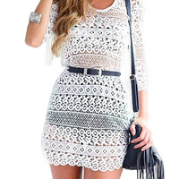Cut Out Crochet Lace Beachwear Dress