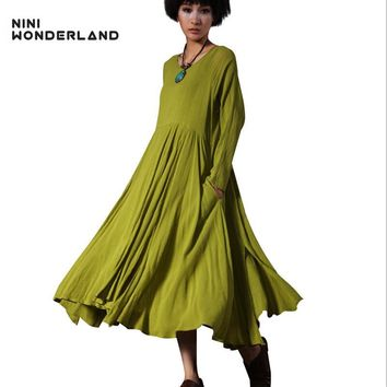NINI WONDERLAND 2018 spring autumn women's solid colors cotton linen fashion dress long-sleeved big size vintage maxi dresses