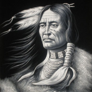 Indian Chief black velvet oil painting hand painted signed art