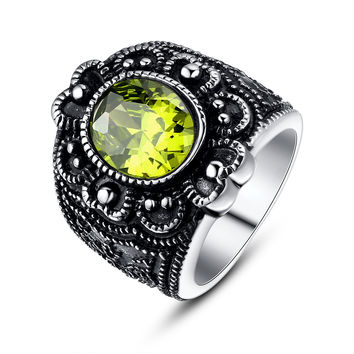 Stainless Steel Vintage Flora Oval Green Cubic Zirconia Cocktail Ring