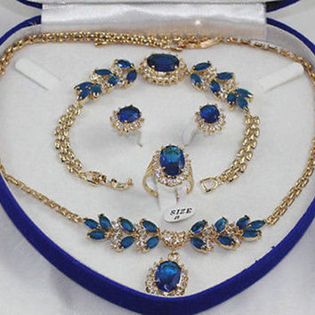Hot selling@> 00769 Beautiful blue jade bracelet earring ring necklace pendant jewelry set Natural jewelry -Bride jewelry