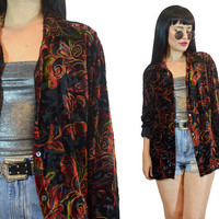 vintage 90s vivid VELVET burnout duster jacket oversized blouse sheer cutouts metallic glitter soft grunge fall leaves witchy medium large