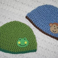 Green Frog or Blue Monkey Hat NB, 0-6, 6-12 Months 1-3, 3-8, 8-15 years Baby Shower Gift, Infant, Perfect Photo Prop