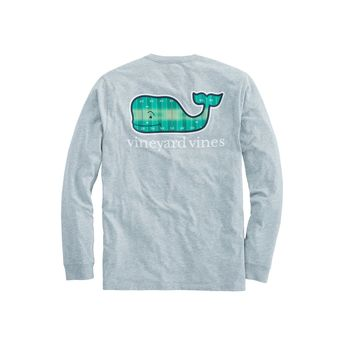 Vineyard Vines, Long-Sleeve Football Field Whale Fill Pocket Shirt, Gray Heather