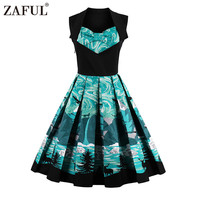 ZAFUL Brand 2017 Vintage Women Dress Retro Robe Rockabilly Feminino Vestidos Hepburn 50s Print Tunic Summer dresses Plus Size