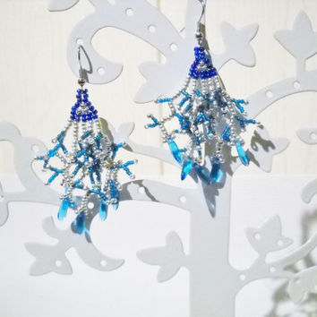 Dangling Blue Earrings, Fringe Earrings in blue, silver and teal with blue glass beads, handmade earrings, beaded earrings, beaded jewelry