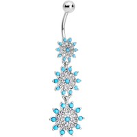 Clear Gems Blue Orb Shower of Snowflakes Dangle Belly Ring