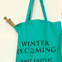 Game of Thrones knitting project bag - turquoise blue, book parody - Kelly Connor Designs