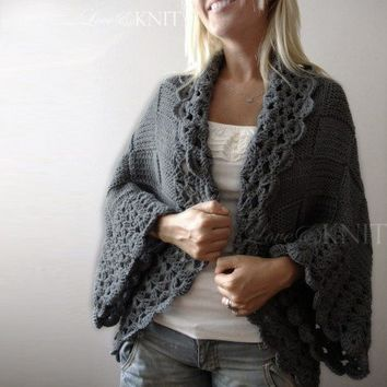 Big Gray Cardigan by LoveandKnit on Etsy