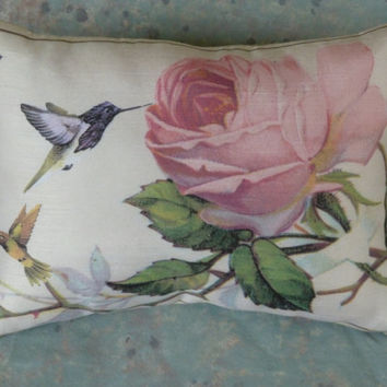Humming Bird Pillow 10 x 7  Shabby Rose Backing