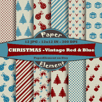 Vintage Christmas Digital Paper Pack - Red and Blue Dirty Old Paper Textures - Grunge Digital Scrapbook Backgrounds