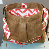 BURLAP and CHEVRON Girl or Boy Diaper Bag