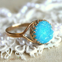 Druzy Blue Aquamarine gemstone Ring  - 14k 2 micron gold plated gemstone jewelry.