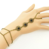 Black Antique Gold Medallion Slave Bracelet, Boho Chain Bracelet Ring Body Jewelry Bohemian Style