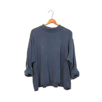 Slouchy faded black boxy shirt oversized mock neck long sleeve boho cotton top grunge basic tee womens XXL