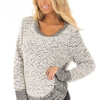 Black and White Soft Long Sleeve Sweater