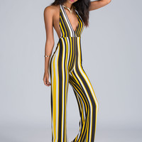 Lining Up Striped Halter Jumpsuit