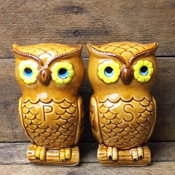 Vintage Owl Salt and Pepper Shakers - Made in Japan
