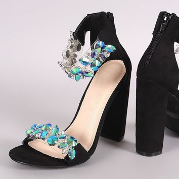 Suede Rhinestone Embellished Straps Open Toe Chunky Heel