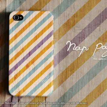 Apple iphone case for iphone iphone 5 iphone 4 iphone 4s iPhone 3Gs  : yellow and violet stripe line pattern on wood (not real wood)