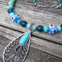 Turquoise Necklace, Leaf Necklace, Green Blue Jewelry, Boho Necklace, Gypsy Bellydancer Necklace, Statement Jewelry, Festival Necklace, LARP