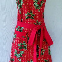 Retro Christmas Apron, Christmas Floral Apron, Holly, Noel, Handmade Apron, KitschNStyle