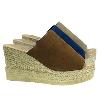 Minni01 Tan By Bamboo, Slip On Sandal On Plastic Imitation Espadrille Platform Wedge