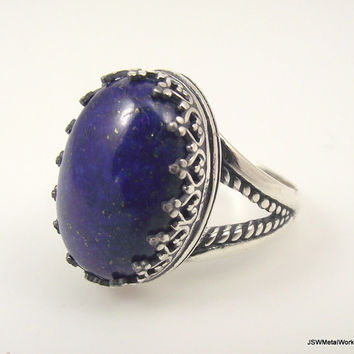Large Victorian Sterling Silver Lapis Lazuli Ring, Ornate Silver Ring, Filigree Ring, Size 8