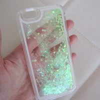 iPhone 6 case glitter clear liquid hipster heart iridescent geometric sequins floating liquid waterfall quicksand phone case trend US seller