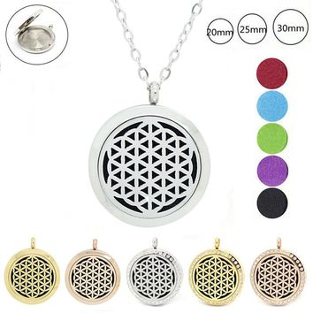 316L stainless steel magnetic flower of life aromatherapy pendant 20mm 25mm 30mm perfume diffuser necklace