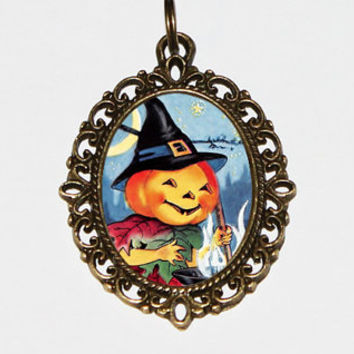Pumpkin Witch Necklace, Autumn, Halloween Jewelry, Witchcraft, Cauldron, Bronze Oval Pendant