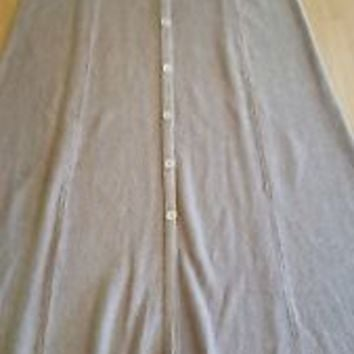 Isabella Bird Tan Linen Silk Stretch Knit Long Full Skirt Button Modest M Medium