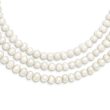 925 Sterling Silver Triple Strand White Freshwater Cultured Pearl Necklace 19 Inch