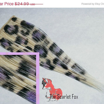 SALE Last Min Halloween FREE SHIPPING! Blonde Lavender Purple Leopard Print Clip in Animal Print 100% Human Hair Extensions
