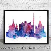 Moscow   City Skyline, Art Print, Moscow  poster, Moscow  art, Moscow  watercolor, watercolor poster, map poster, City watercolor,