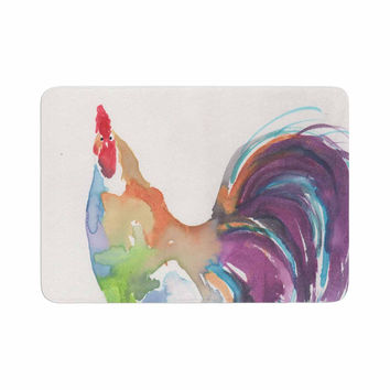 "Rebecca Bender ""Watercolor Rooster"" Multicolor Bird Memory Foam Bath Mat"