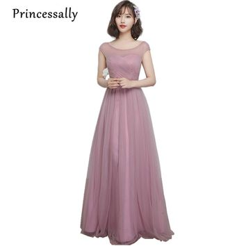 Robe De Soriee New Bridesmaid Dresses Dusty Long Boat Neck A-line Peated Cheap Prom Party Gown Under 50 Vestido Boda Longo 2017