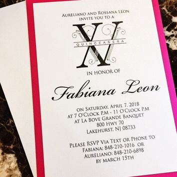 Quinceanera Invitation - Hot Pink and Silver Quinceanera Invitations