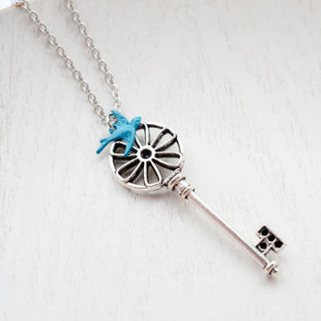 Skeleton Key Necklace,Wheel Key Necklace,Blue Bird Necklace,Antique Silver Key Charm Pendant,Large Key Necklace,Sparrow Necklace