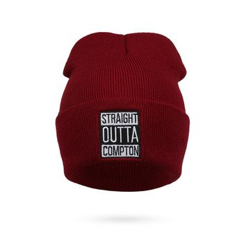 Men and Women Letter Straight Outta Compton Knitted Wool Acrylic Cap Europe and The United States Style Hip-Hop Beanie Hat RX115