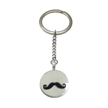Circular White Hipster Mustache Pendant Keychain